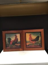 Pair Of Wood Wall Pictures Frames Rooster And Hen Country Style