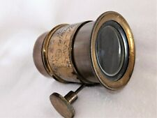VINTAGE BRASS PROJECTION LENS IN PETZVAL CONFIGERATION (BY HUSBANDS & SONS)