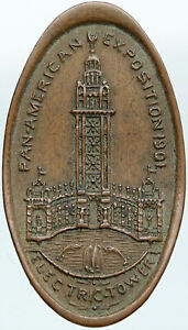 1901 USA Buffalo NY Panamerican WORLD EXPO ELECTRIC TOWER Antique Medal i88294