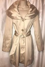 Tahari Women's Size PP Champagne Beige Belted Jacket Dramatic Collar Satin Feel