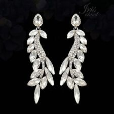 Rhodium Plated Clear Crystal Rhinestone Wedding Drop Dangle Earrings 04899 New