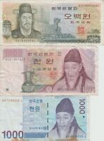 World paper money lot THE BANK OF KOREA  2 - 1000 WON and 500 WON 3 NOTES
