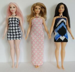 Fits CURVY BARBIE Clothes 6 Pc Lot of Dresses & Jewelry Fashions NO DOLLS d4e #5