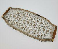 Mid-century Georges Briard Gold Gilt Glass Walnut Hostess Serving Platter Tray