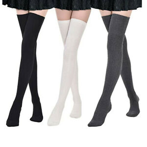 3 Pairs Solid Color High Elastic Women's Girls Cotton Stockings Long Thigh Socks