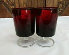 "2 x Vintage Arcoroc France Red Ruby Pedestal Drinking Glass ~ 4.5"" H"