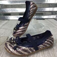Micheal Kors Ballet Flat Zebra Sequence Blue Bow MK Charm Slip On Shoe Size 7c