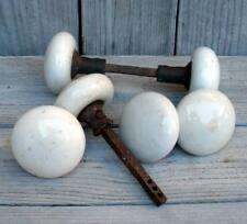 Antique Vintage 6 White Porcelain Door Knobs Handles Salvaged Fittings