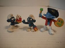 3 Smurf Figure Painter Cake & with Book Peyo Schleich W Berrie Co Hong Kong