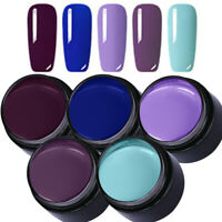 LEMOOC 5ml 5 Boxes Nagel Gellack Soak off Nail Art Gel UV Nagellack Lila Blau