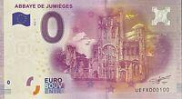 BILLET 0  EURO ABBAYEN DE JUMIEGES  FRANCE 2016 NUMERO 100