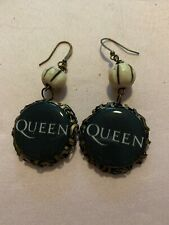 Queen lovers fans logo earrings rock Band ooak handmade Paris winx black white