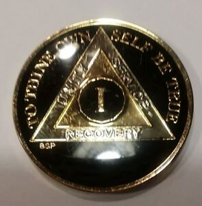 """1 Year AA Coin BLACK Enamel, Gold, Nickel 1⅜"""" Traditional Size Recovery"""