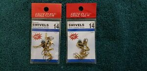 Lot of 2 - Eagle Claw Brass Barrel Swivel w/ Safety Snap 01041-014 size 14