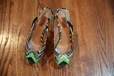 AUTH 695$ Missoni  Peep-Toe Knit Pump, Green Multi, 38
