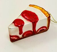 Kurt Adler Glass Ornament Strawberry Pie Slice Noble Gems Dessert New