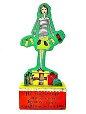 Demdaco Christmas Girl Cut Out Wooden Stand Holiday Figurine Table Sitter Decor