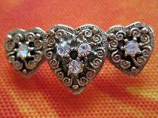W/ Studded Crystals Pin*New Avon*Antique-Style Romantic Gold-Tone Hearts Sparkle