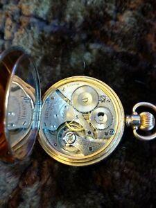 Workingish Waltham no 610/ Dennison Moon 10k Gold Plated Open Face Pocket Watch