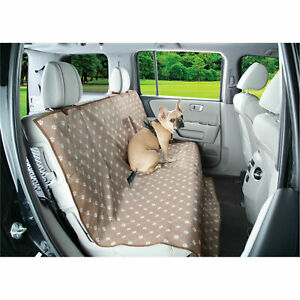 Waterproof Dog Seat Cover - Pet Auto Seat Protector - Beige Paw Printing