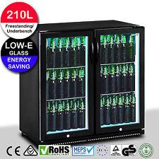Black Double Glass Door Bar Fridge Under Bench 210 Litre Beer Display Cooler