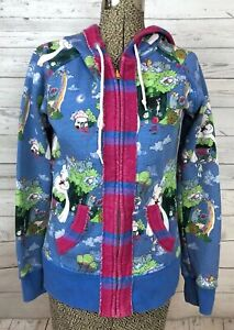 Womens Cartoon Japanese Chinese Hoodie Cartoon Rabbit Jellyfish Sz Small Blue