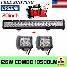 20'' 126W Cree LED Work Light Bar Offroad Boat Lamp Spot Flood Combo FREE 2X18W