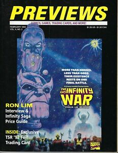 PREVIEWS Comics Catalog, Feb 1992, The Infinity War, Ron Lim, TSR Foil Card