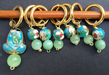 Stitch marker,  knitting or crochetting, green stone and cloisonne beads, frog