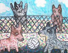Australian Cattle Dog Playing Volleyball Pop Art Print 8x10 Signed Artist Ksams