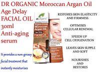 DR ORGANIC Moroccan Argan Oil Age Delay FACIAL OIL 30ml ( Anti-aging serum )