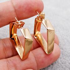 Stud Earrings Hoop Jewelry Women Gift Punk Geometric square Hook 18K Gold Filled