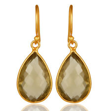 Lemon Topaz Bezel-Set Gemstone Dangle Earrings 925 Silver Handmade Jewelry