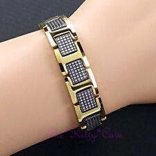 Magnetic Power Tungsten Arthritis Sports Injury Unisex 24K Gold Texture Bracelet