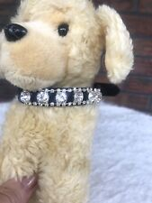 New Black Clear Rhinestones Dog Collar Bling for Your Pig Cat Duck Diva Small