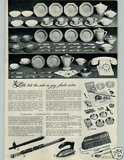 1943 PAPER AD Toy Tea Set Plastic Glass Metal Bake Teapot Sugar Fiesta Colors