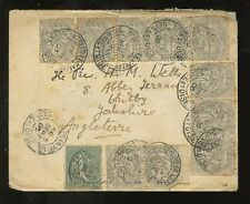 FRANCE 1900 1c...11 stamps franking...NESLES LA VALLEE to WHITBY GB