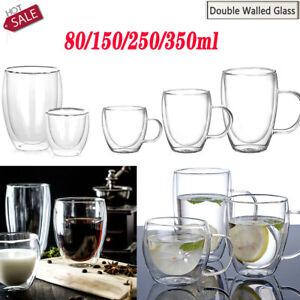 Double Walled Glass Coffee Tea Milk Cups  Beer Tumbler with Handles Heat Proof