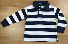 POLO RALPH LAUREN Boys Navy & White Stripe Long Sleeve Polo Shirt Age 4 Years