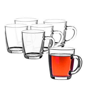 6er Set Pasabahce Teetassen 340ml Glas Kaffee Becher Glühwein Gläser mit Henkel