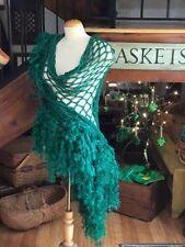Crochet Tinsel Thread Eyelash Feather Yarn Glitter St Patrick's Green Shawl OOAK