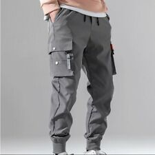 Men Korean Fashion Tapered Cargo Trousers Oversize Pockets Casual Sweatpants New