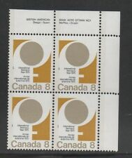 CANADA 1975 UR Plate Block Stamp  #668 8¢ UN International Women's Year MNH