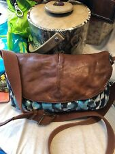 Lucky Brand blue & white canvas crossbody with brown lamb leather flap & trim