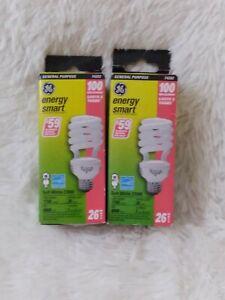 2x GE General Purpose 74202 Energy Smart 26 Watt 1750 Lumens Lasts 5 Years USA