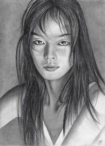 original drawing 21x28,5 cm 5PRev-Q art Graphite Asian Female portrait Realism