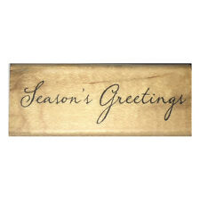 SEASON'S GREETINGS Wood Mounted Stamp Sentiment Merry Christmas Card Making