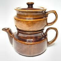 Vintage McCoy? Stoneware Brown Drip Coffee Pot Percolator Set Marked USA