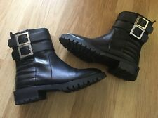 ZARA Casual Black Flat Genuine Leather Buckle Biker Ankle Boots Womens Size UK 4