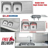 Stainless Steel Kitchen Sink Reversible Drainer & Double Large Bowl Dishwasher